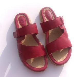 Boc  Red Velcro slide on Sandals Sz 8M